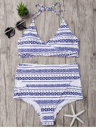 Halter High Waisted Wrap Bikini Set