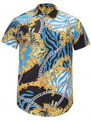 Floral Chain and Tiger Print Cover Placket Shirt