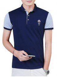 Two Tone Embroidered Polo Shirt -