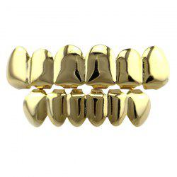 Hip Hop Smooth Top Bottom Teeth Grillz Set - GOLDEN