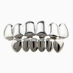 Hip Hop Smooth Top Bottom Teeth Grillz Set - SILVER