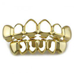 Hip Hop Hollowed Top Bottom Teeth Grillz Set - GOLDEN