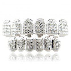 Rhinestone Hip Hop Top Bottom Teeth Grillz Set - SILVER
