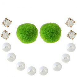 Faux Pearl Fuzzy Ball Rhinestone Earring Set