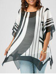 Plus Size Chiffon Striped Top
