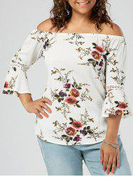 Plus Size Flower Off The Shoulder Chiffon Top