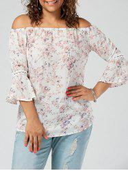 Chiffon Floral Off The Shoulde Plus Size Blouse