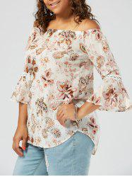 Floral Printed Chiffon Plus Size Off The Shoulder Top