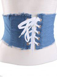 Fringe Brim Lace Up Denim Corset Belt - LIGHT BLUE