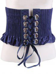 Shimmer Lace Up Circles Pleating Corset Belt -