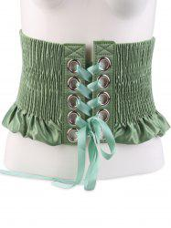 Shimmer Lace Up Circles Pleating Corset Belt - GREEN