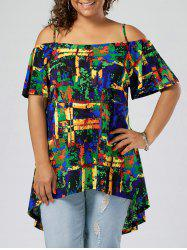Tie Dye High Low Plus Size Mini Dress - COLORMIX