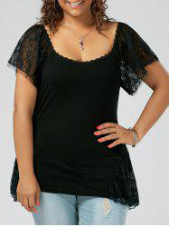 Plus Size Scoop Neck Lace Trim T-shirt