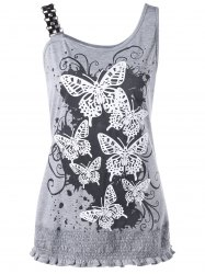 Butterfly Print Smocked Plus Size Tank Top - GRAY