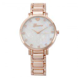 Alloy Strap Heart Rhinestone Analog Watch