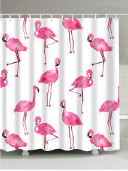 Unique Flamingo Extra Long Bathroom Curtain - WHITE