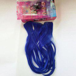 No Clips Fish Line Medium Straight Cosplay Extension de cheveux synthétiques - Bleu