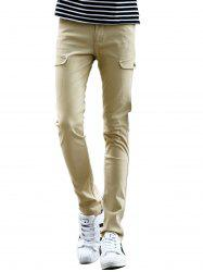 Pocket Design Zipper Fly Narrow Feet Pants