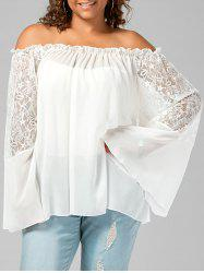 Plus Size Lace Trim Off The Shoulder Top