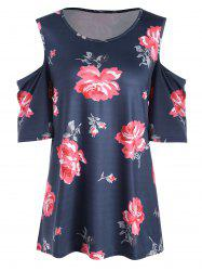 Plus Size Floral  High Low Open Shoulder T-shirt
