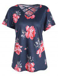 Plus Size Floral Printed  Criss Cross Cutout T-shirt