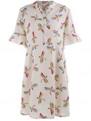 Printed Chiffon Plus Size Dress with Flare Sleeves