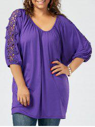 Lace Insert Plus Size Tunic Tee - PURPLE