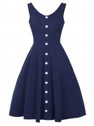 Button Up Fit and Flare Dress - DEEP BLUE