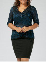 Plus Size Lace Panel Sheer Two Piece Dress