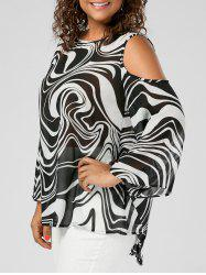 Plus Size Graphic Cold Shoulder High Low Top