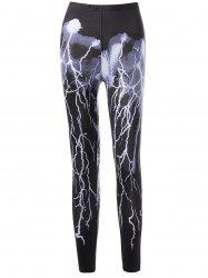 Lightning Pattern High Waist Leggings - BLACK