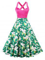 Floral Leaf Print Criss Cross Vintage Dress