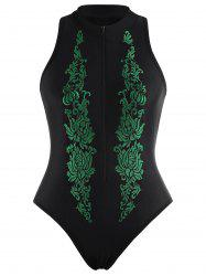 Embroidered High Neck Plus Size Swimsuit -