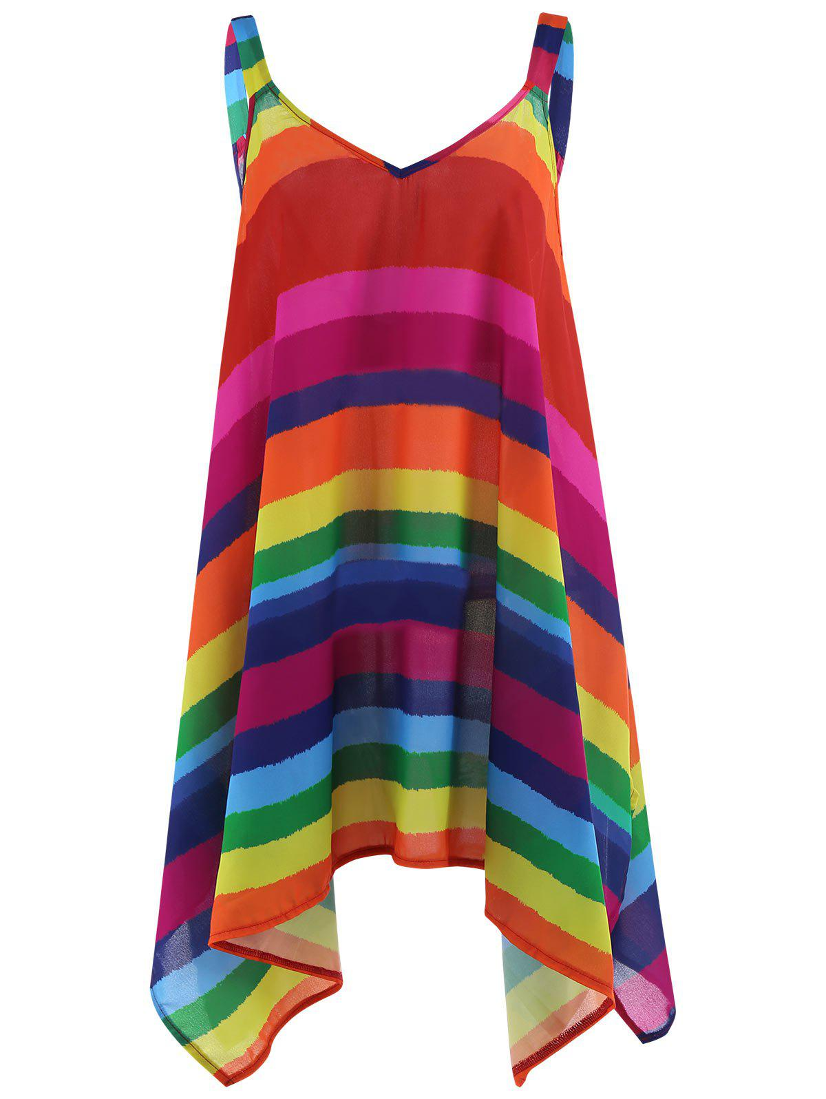 Fancy Plus Size Rainbow Striped Spaghetti Strap Top