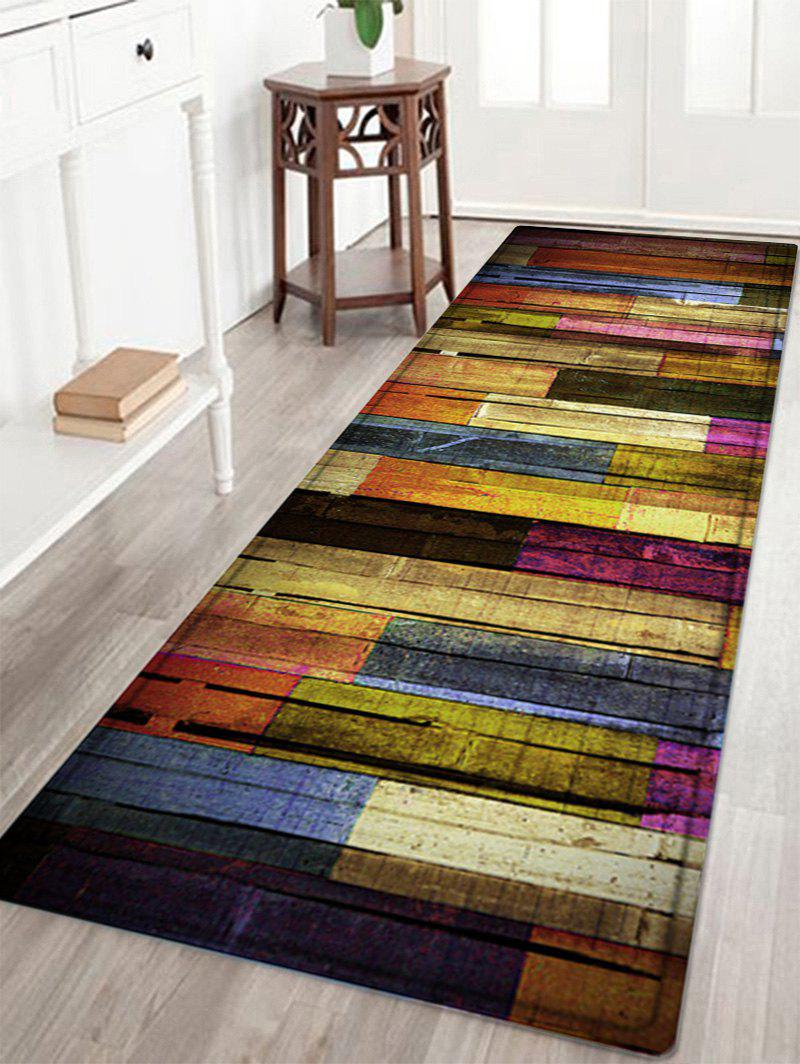 Colorful Wood Flooring Pattern Anti-skid Water Absorption Area RugHOME<br><br>Size: W24 INCH * L71 INCH; Color: COLORMIX; Products Type: Bath rugs; Materials: Flannel,Sponge; Style: Vintage; Shape: Rectangle; Package Contents: 1 x Rug;
