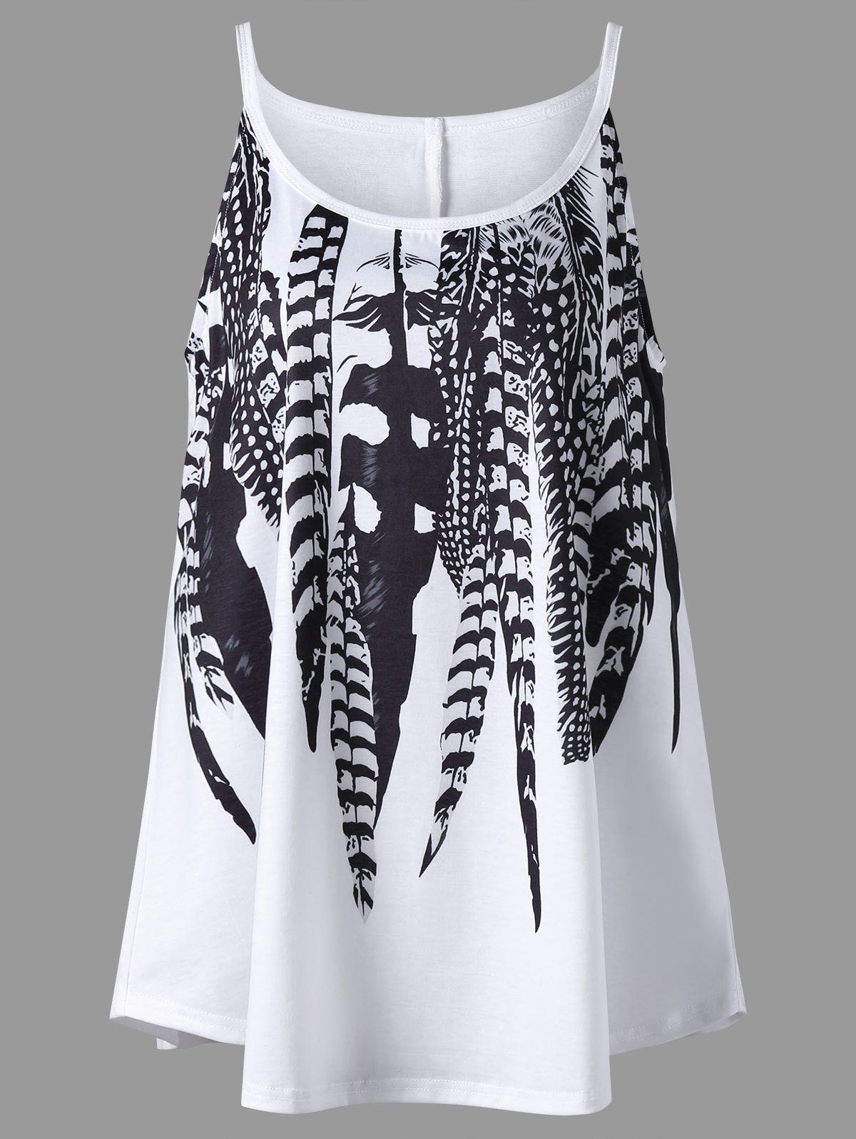 Plus Size Feather Print Cami TopWOMEN<br><br>Size: 2XL; Color: WHITE; Material: Polyester,Spandex; Shirt Length: Long; Sleeve Length: Sleeveless; Collar: Spaghetti Strap; Style: Casual; Season: Summer; Pattern Type: Feather; Weight: 0.2200kg; Package Contents: 1 x Tank Top;