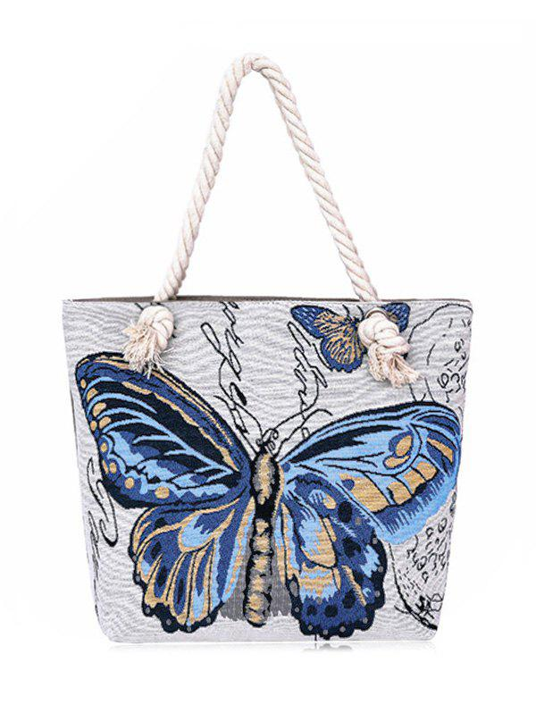 Trendy Butterfly Printed Canvas Shoulder Bag