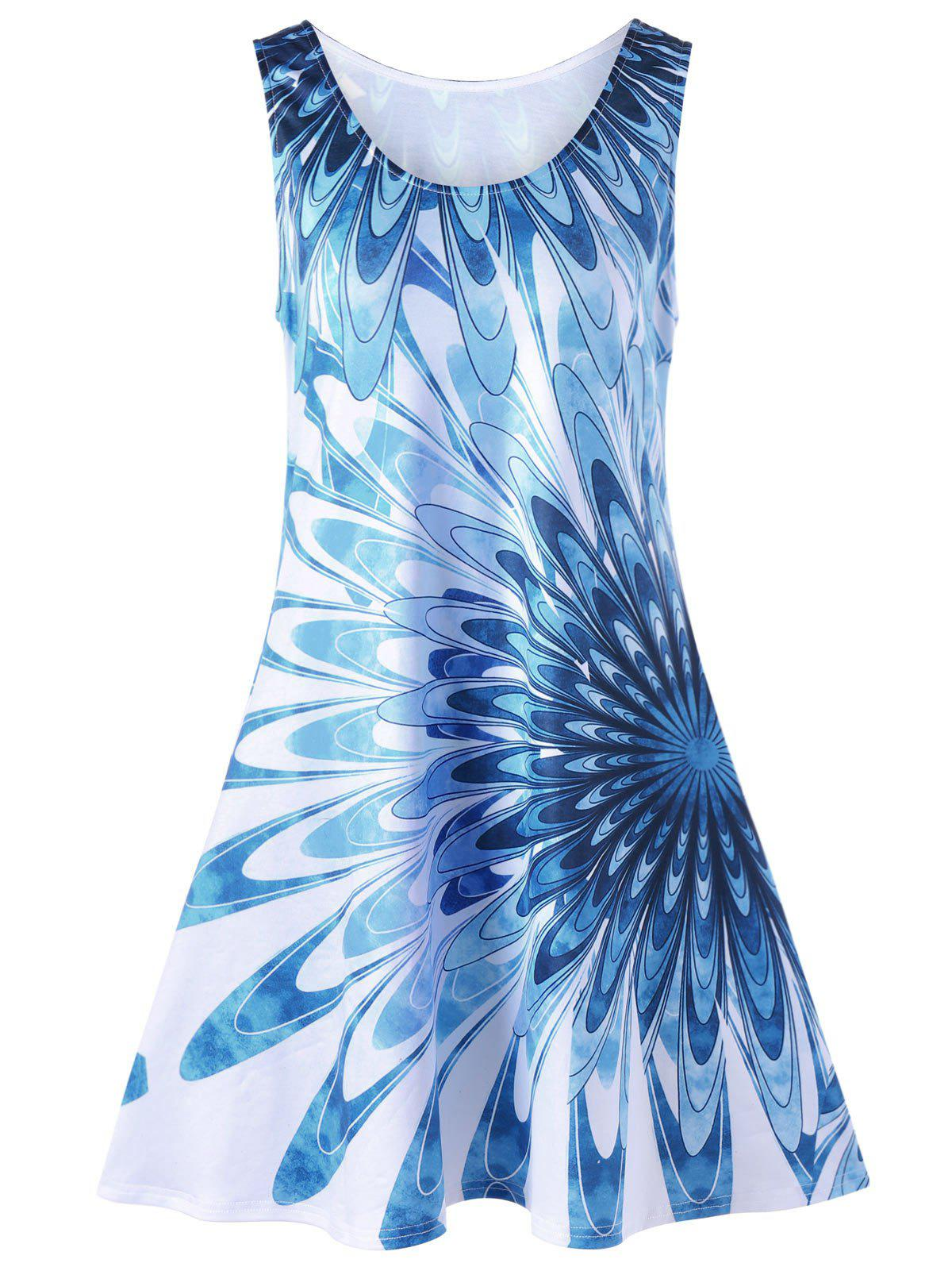 Floral Sleeveless Plus Size Tank Trapeze DressWOMEN<br><br>Size: 4XL; Color: BLUE; Style: Casual; Material: Polyester,Spandex; Silhouette: A-Line; Dresses Length: Mini; Neckline: Scoop Neck; Sleeve Length: Sleeveless; Pattern Type: Floral; With Belt: No; Season: Summer; Weight: 0.2600kg; Package Contents: 1 x Dress;