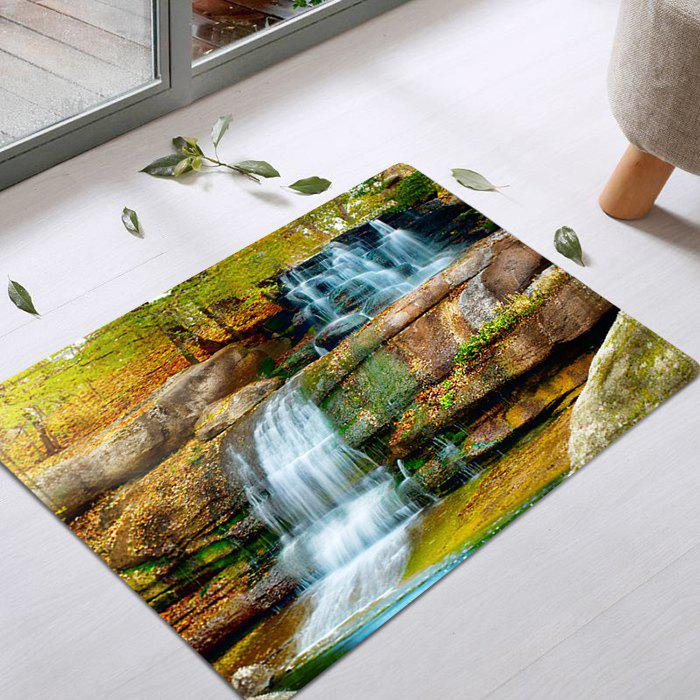 Waterfall Scenery Pattern Anti-skid Water Absorption Area RugHOME<br><br>Size: W16 INCH * L24 INCH; Color: COLORMIX; Products Type: Bath rugs; Materials: Flannel,Sponge; Style: Trendy; Shape: Rectangle; Package Contents: 1 x Rug;