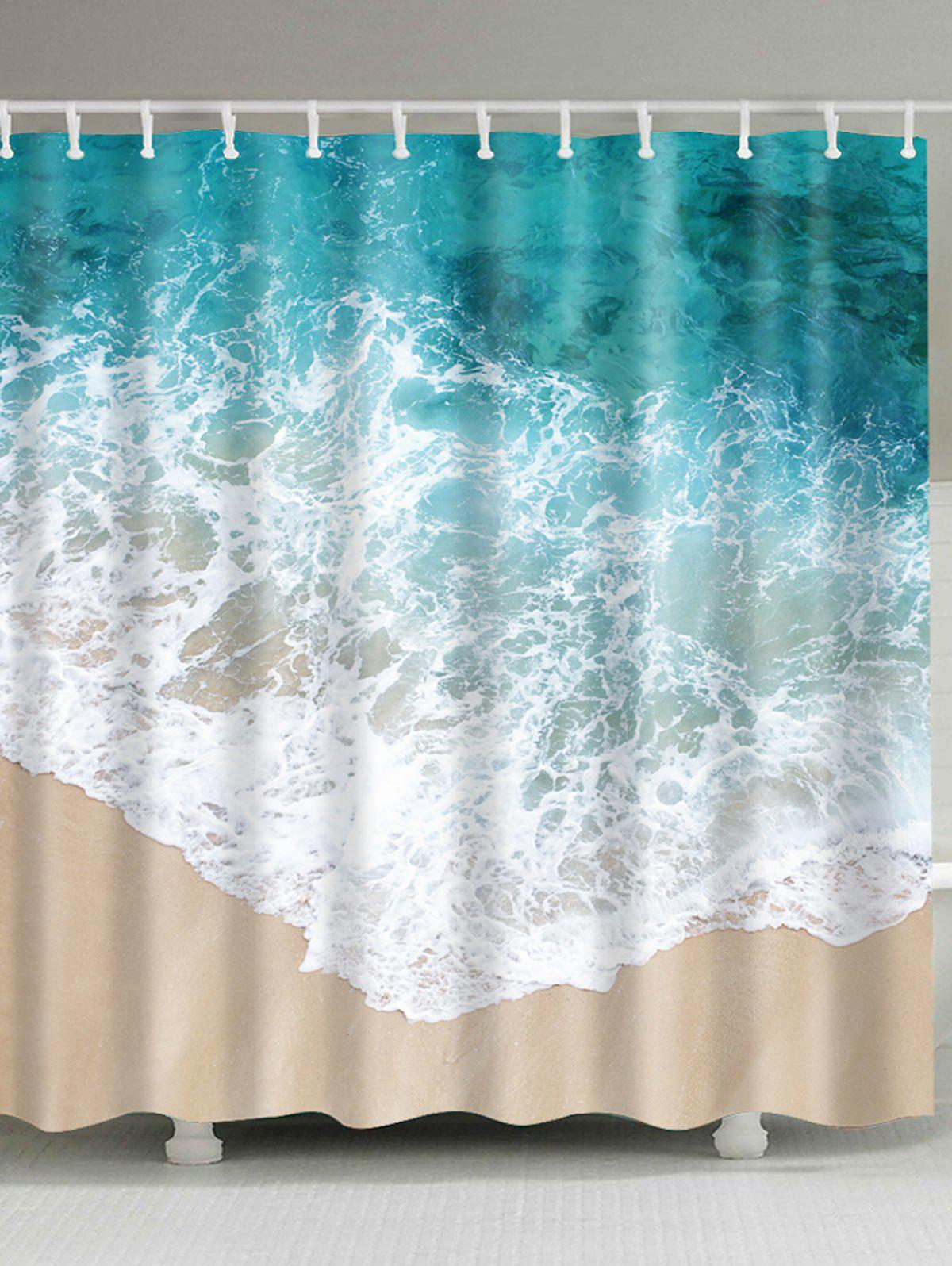 Waterproof Sea Wave Bathroom Shower CurtainHOME<br><br>Size: W71 INCH * L79 INCH; Color: COLORMIX; Products Type: Shower Curtains; Materials: Polyester; Pattern: Scenic; Style: Beach Style; Number of Hook Holes: W59 inch*L71 inch: 10; W71 inch*L71 inch: 12; W71 inch*L79 inch: 12; Package Contents: 1 x Shower Curtain 1 x Hooks (Set);