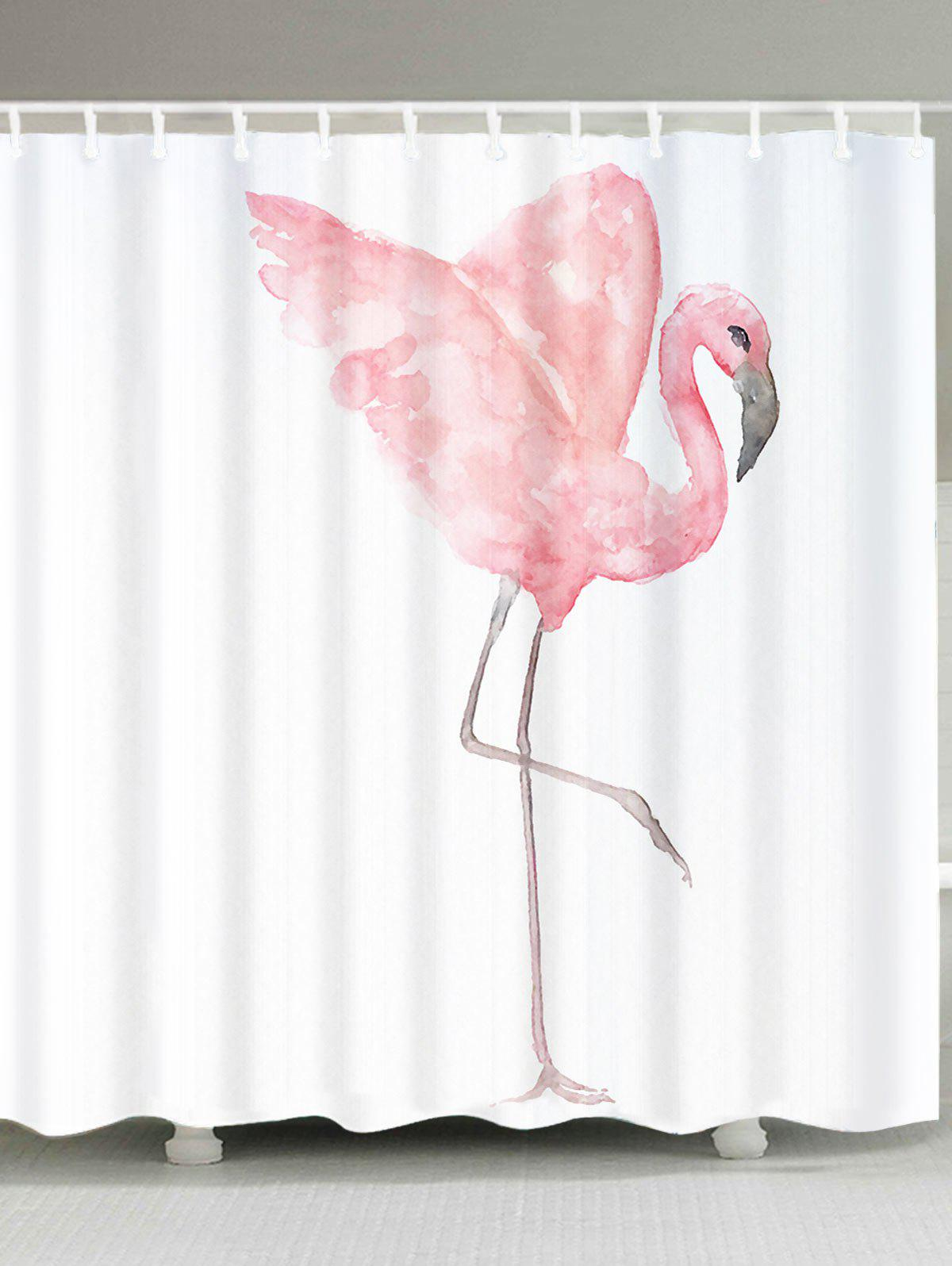 pink w65 inch l71 inch extra long watercolor painting flamingo shower curtain. Black Bedroom Furniture Sets. Home Design Ideas