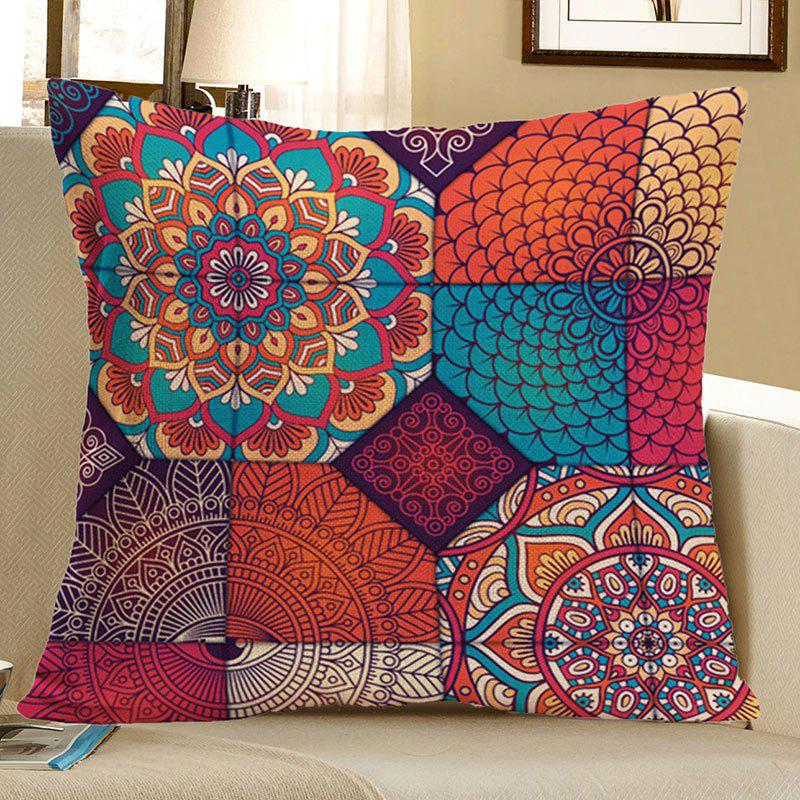Bohemian Mandala Floral Print Decorative Pillow CaseHOME<br><br>Size: 45*45CM; Color: COLORFUL; Material: Polyester / Cotton; Fabric Type: Linen; Pattern: Floral; Style: Accent/Decorative; Shape: Square; Weight: 0.0800kg; Package Contents: 1 x Pillow Case;