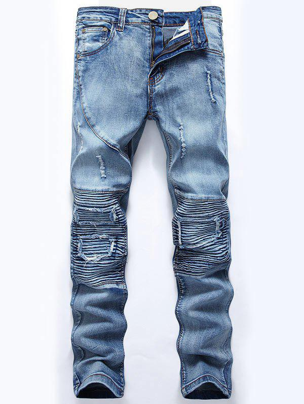 Ripped Slim-Fit Biker JeansMEN<br><br>Size: 32; Color: LIGHT BLUE; Material: Cotton,Jean,Polyester; Pant Length: Long Pants; Wash: Medium; Fit Type: Regular; Waist Type: Mid; Closure Type: Zipper Fly; Weight: 0.6400kg; Pant Style: Straight; Package Contents: 1 x Jeans; With Belt: No;