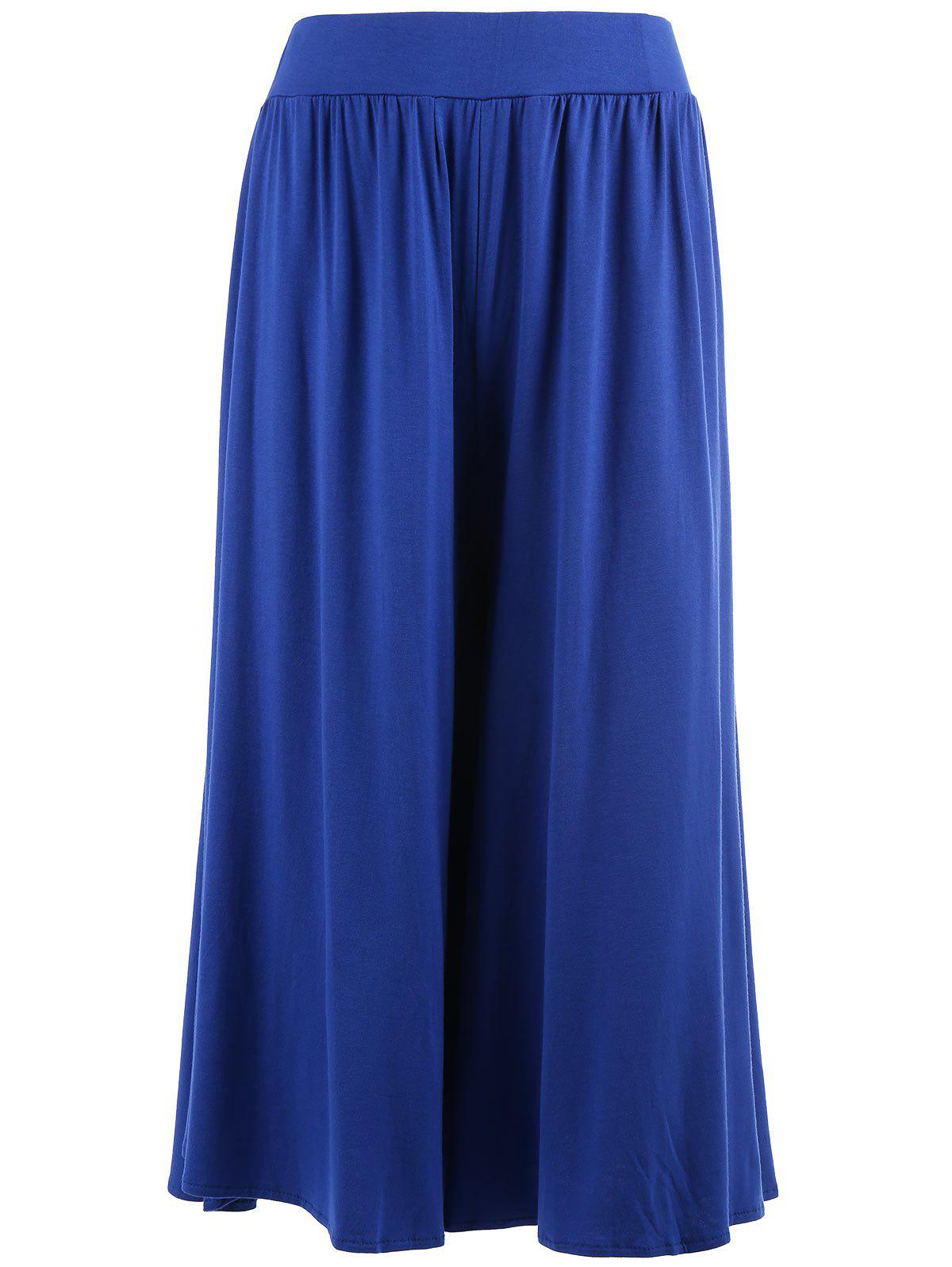 Plus Size Wide Leg Capri Palazzo PantsWOMEN<br><br>Size: 5XL; Color: BLUE; Style: Fashion; Length: Capri; Material: Cotton,Polyester; Fit Type: Loose; Waist Type: High; Closure Type: Elastic Waist; Front Style: Flat; Pattern Type: Solid; Pant Style: Wide Leg Pants; Elasticity: Elastic; Weight: 0.3500kg; Package Contents: 1 x Pants;