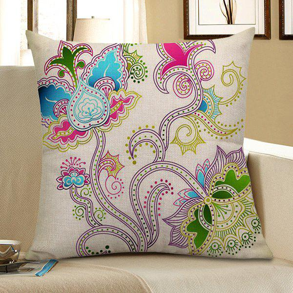 Floral Printed Decorative Pillow CaseHOME<br><br>Size: 45*45CM; Color: COLORFUL; Material: Polyester / Cotton; Fabric Type: Linen; Pattern: Floral; Style: Modern/Contemporary; Shape: Square; Weight: 0.0800kg; Package Contents: 1 x Pillow Case;