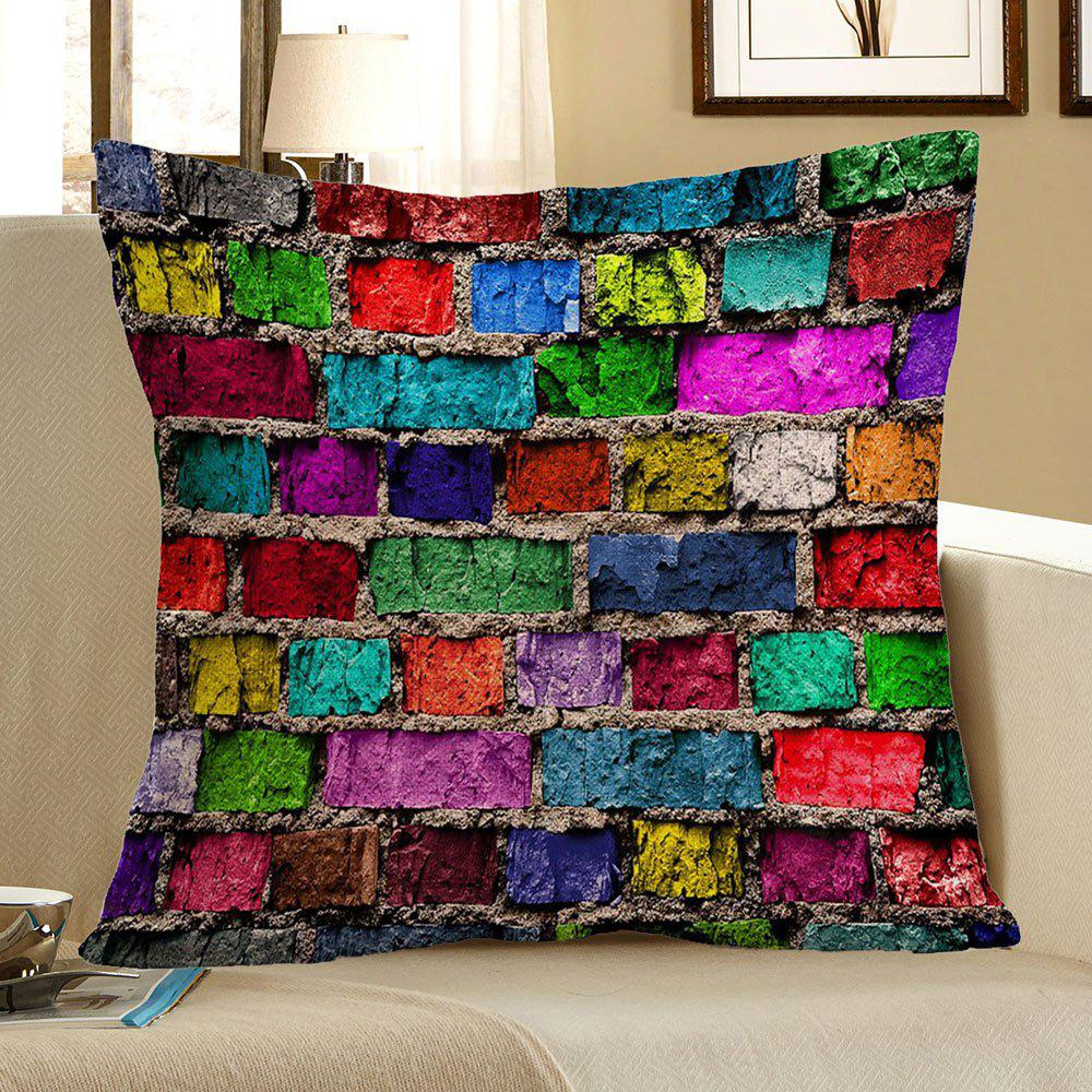 Home Decor Colorful Brick Print Pillow CaseHOME<br><br>Size: 45*45CM; Color: COLORFUL; Material: Polyester / Cotton; Fabric Type: Linen; Pattern: Printed; Style: Retro; Shape: Square; Weight: 0.0800kg; Package Contents: 1 x Pillow Case;