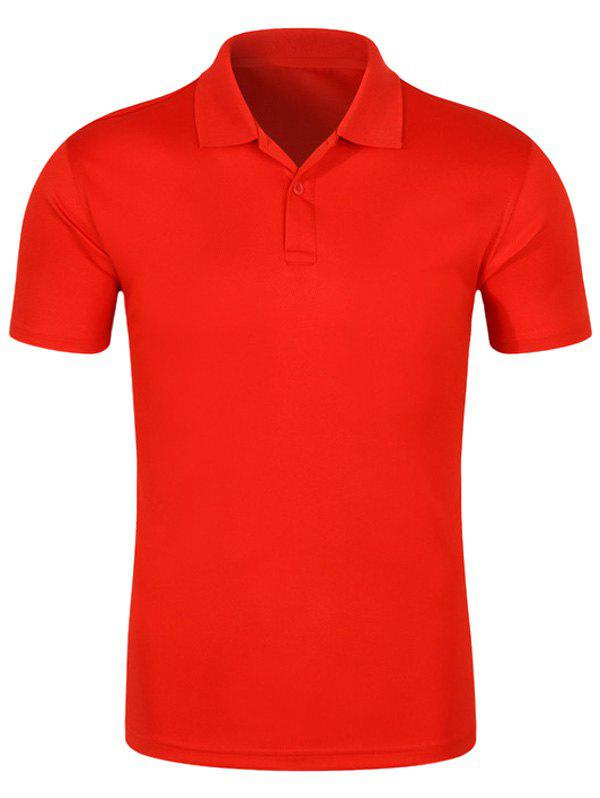 Half Button Quick Dry Plain Polo ShirtMEN<br><br>Size: 2XL; Color: RED; Material: Cotton,Polyester; Sleeve Length: Short; Collar: Turn-down Collar; Style: Casual; Pattern Type: Solid; Season: Spring,Summer; Weight: 0.2400kg; Package Contents: 1 x Polo Shirt;