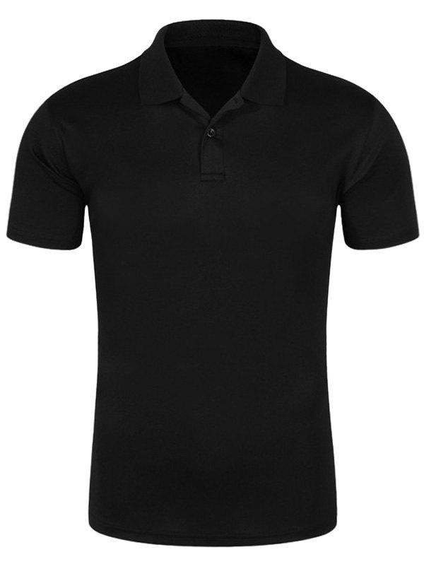 Half Button Quick Dry Plain Polo ShirtMEN<br><br>Size: 2XL; Color: BLACK; Material: Cotton,Polyester; Sleeve Length: Short; Collar: Turn-down Collar; Style: Casual; Pattern Type: Solid; Season: Spring,Summer; Weight: 0.2400kg; Package Contents: 1 x Polo Shirt;