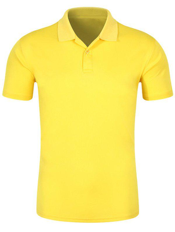 Half Button Quick Dry Plain Polo ShirtMEN<br><br>Size: 2XL; Color: YELLOW; Material: Cotton,Polyester; Sleeve Length: Short; Collar: Turn-down Collar; Style: Casual; Pattern Type: Solid; Season: Spring,Summer; Weight: 0.2400kg; Package Contents: 1 x Polo Shirt;