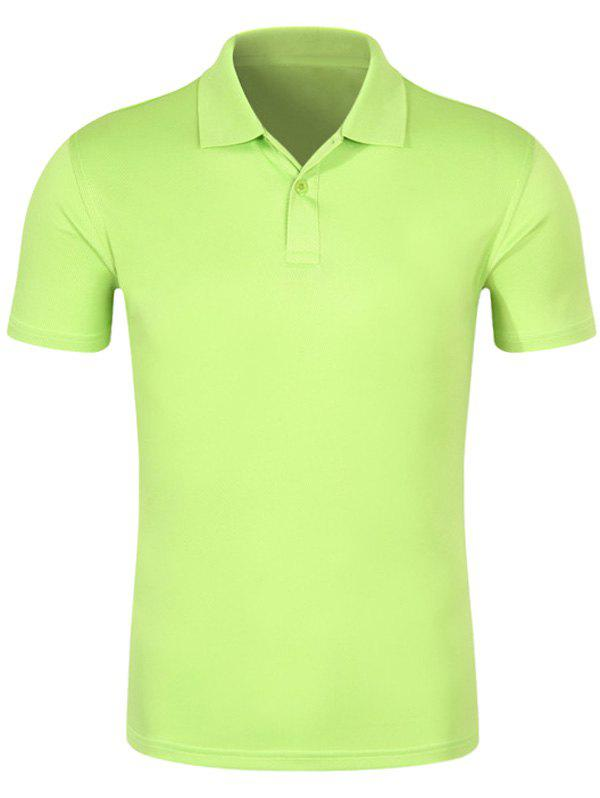 Half Button Quick Dry Plain Polo ShirtMEN<br><br>Size: 2XL; Color: APPLE GREEN; Material: Cotton,Polyester; Sleeve Length: Short; Collar: Turn-down Collar; Style: Casual; Pattern Type: Solid; Season: Spring,Summer; Weight: 0.2400kg; Package Contents: 1 x Polo Shirt;